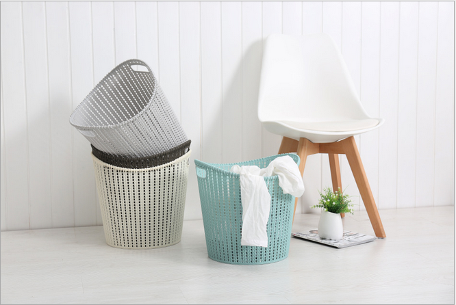 Wicker Plastic Storage Basket Laundry Basket Dirty Clothes Basket For Bathroom