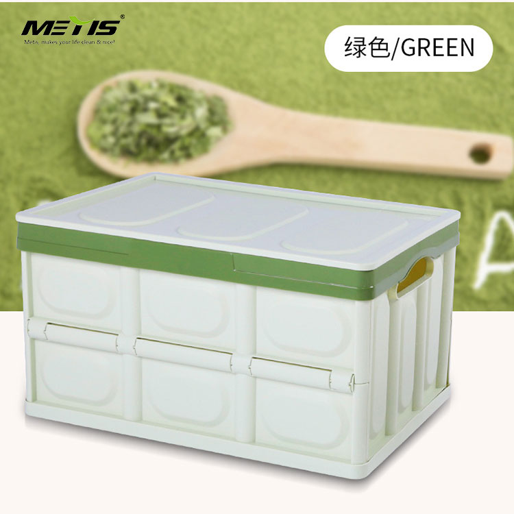 Portable folding plastic collapsible storage basket storage container box