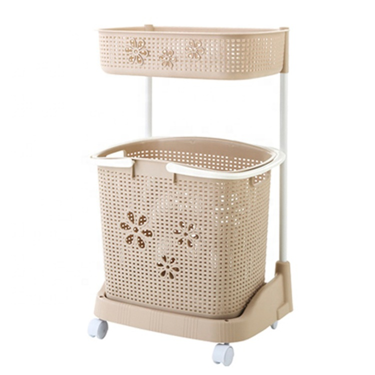 Movable double layer colorful bathroom bendroom storage rack