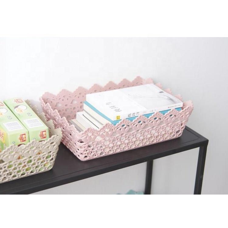 New Design Decorative Lace-up High Quality PP Storage Box Basket