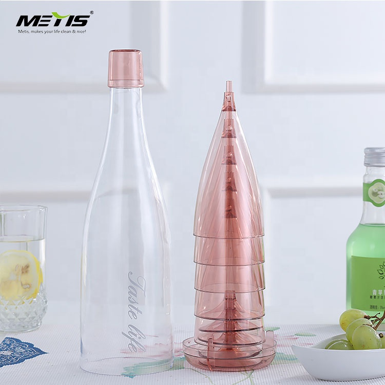 Factory Directly Provide Portable integrated detachable plastic wine glass for travel