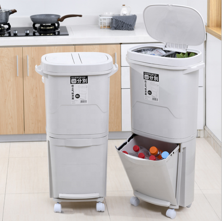 Plastic indoor home kitchen recycling bin 3 compartments recycle trash cans