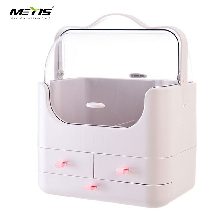 2019 new design big capacity dust-proof waterproof plastic cosmetic storage box with lid and handle