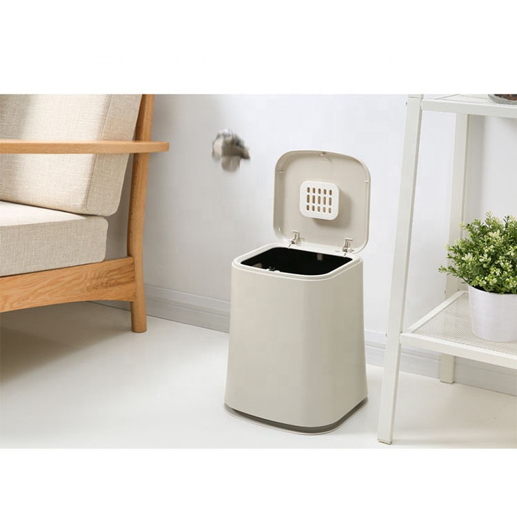 Household rectangular hand touch press plastic trash can