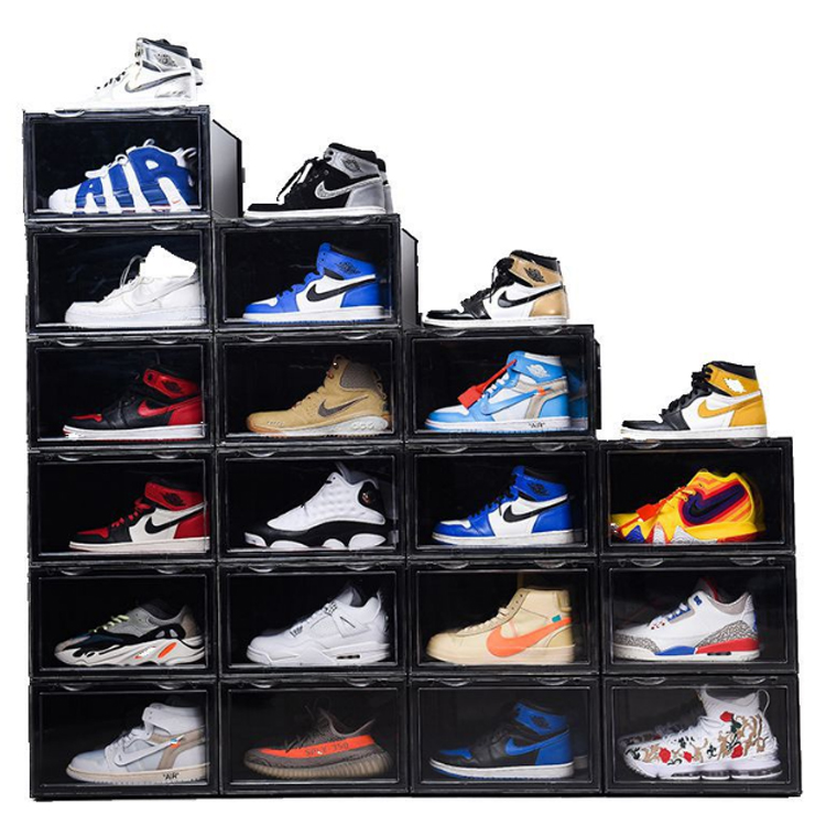 Metis easy to assemble plastic shoe box organizers sliding