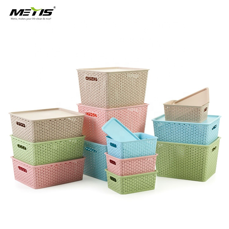 Small plastic stackable plastic storage basket