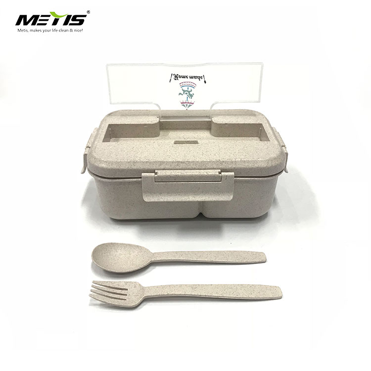 Environmentally friendly tableware A6093 wheat straw material beton lunch box with spoon and fork