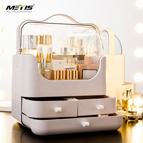 Unique design dust protection cover cosmetic storage box with drawers
