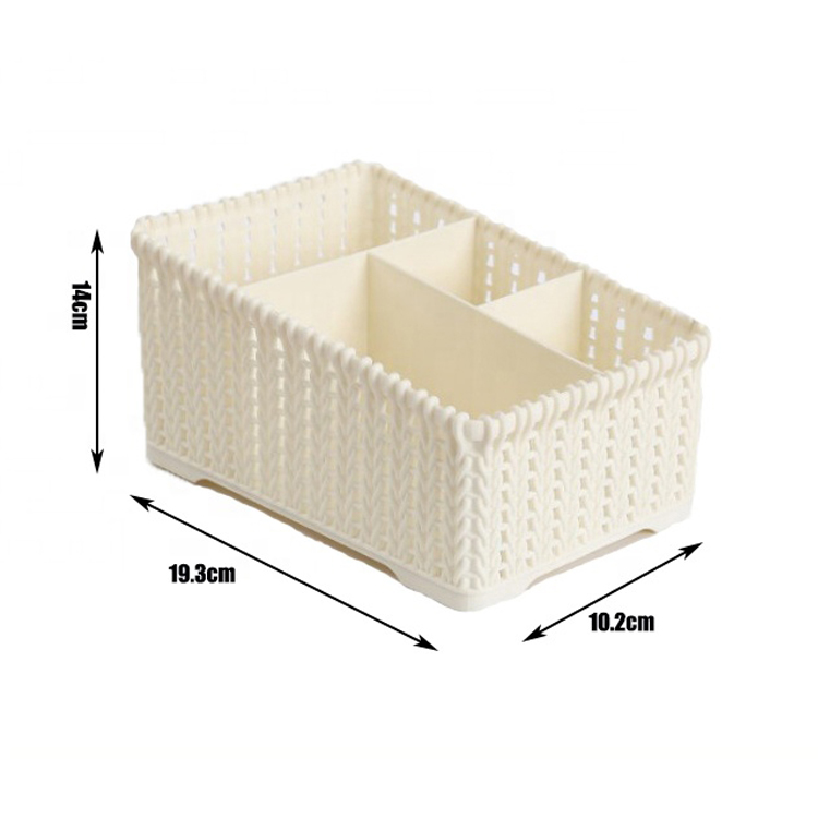 High quality low factory price plastic desk makeup mini storage rack