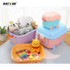 Cute colorful kids toy car storage bins stackable plastic storage box for toys with lid and wheels