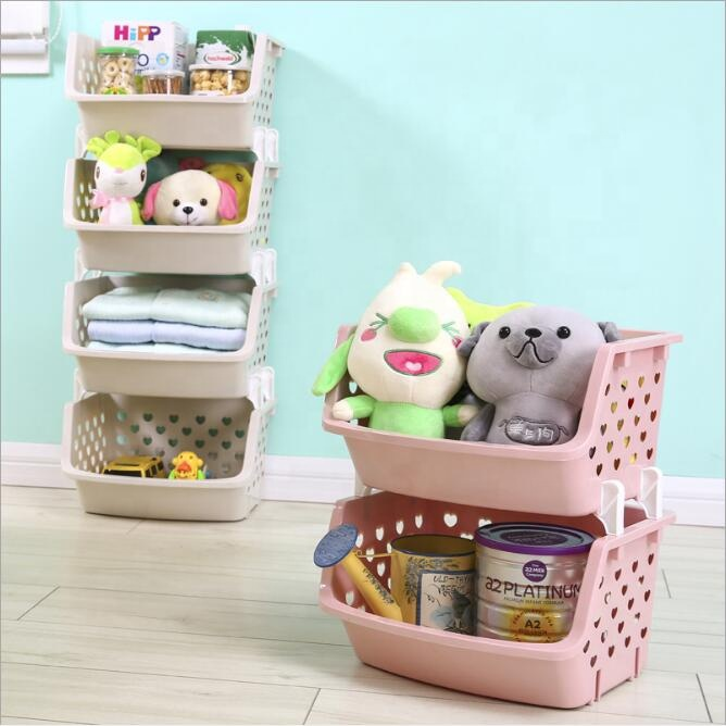 Factory Directly Provide Pile Up Storage Basket Plastic Basket Wholesale for home