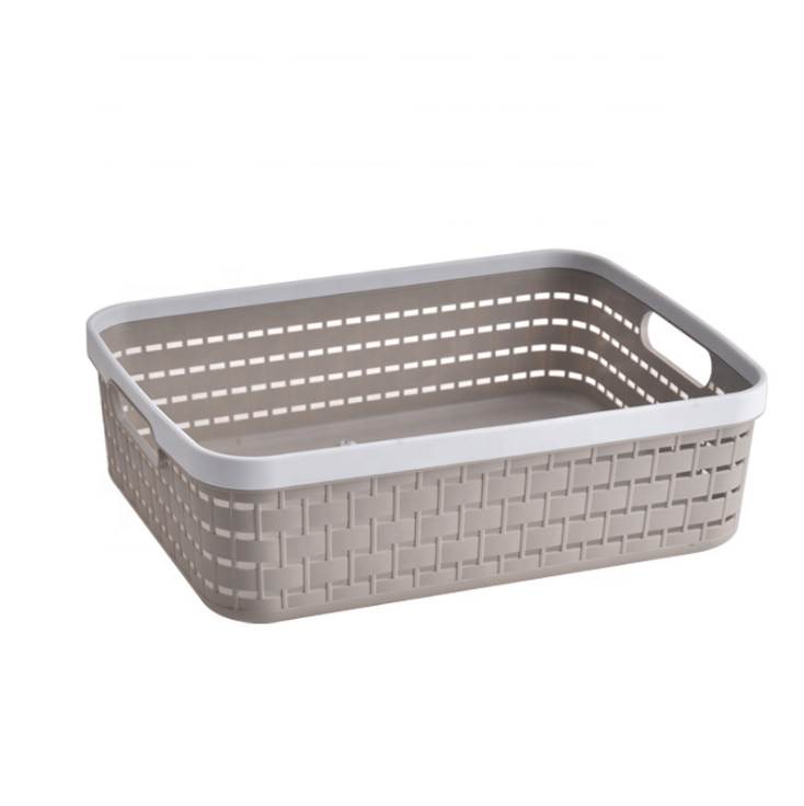 Household design large square plastic handle storage basket