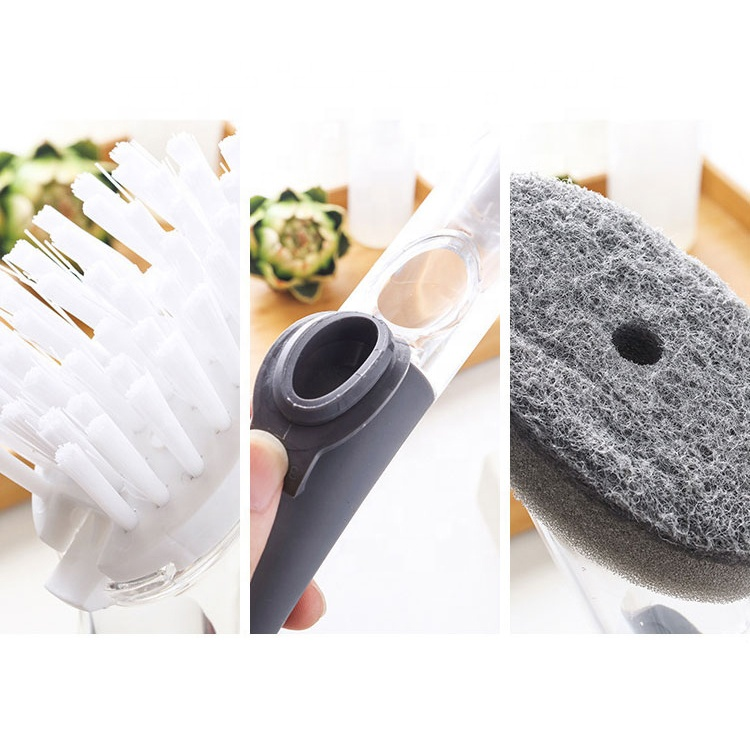Metis T001 Soap Dispensing Scrub Brush Plastic Pot Sink Dish Cleaning Brush with Sponge for kitchen