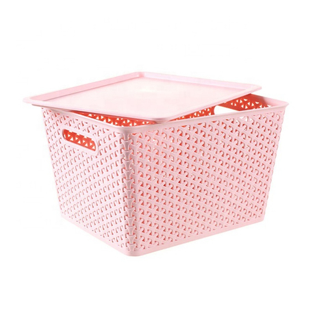 High quality fruit woven plastic rattan storage box basket with lid