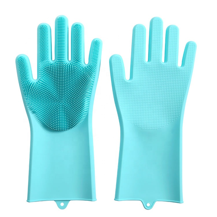 Silica Gel Dishwash Gloves Waterproof and Multifunctional Dishwash and Brush Magic Gloves Kitchen Cleaning
