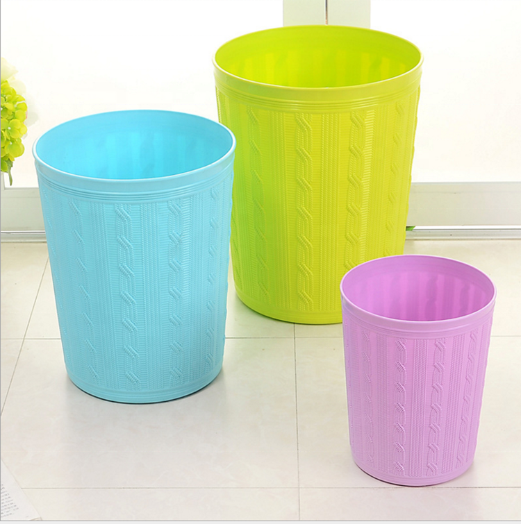 Round Plastic Small Trash Can Wastebasket Garbage Container Bin for Bathrooms