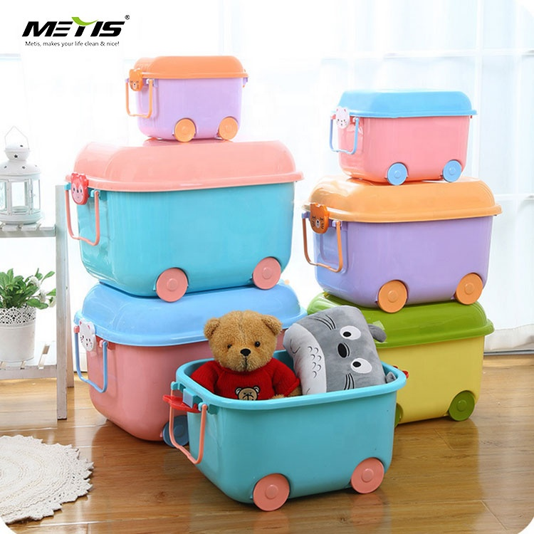 Amazon Top Seller Portable Plastic Storage Box Gift Box With Wheel And Lid