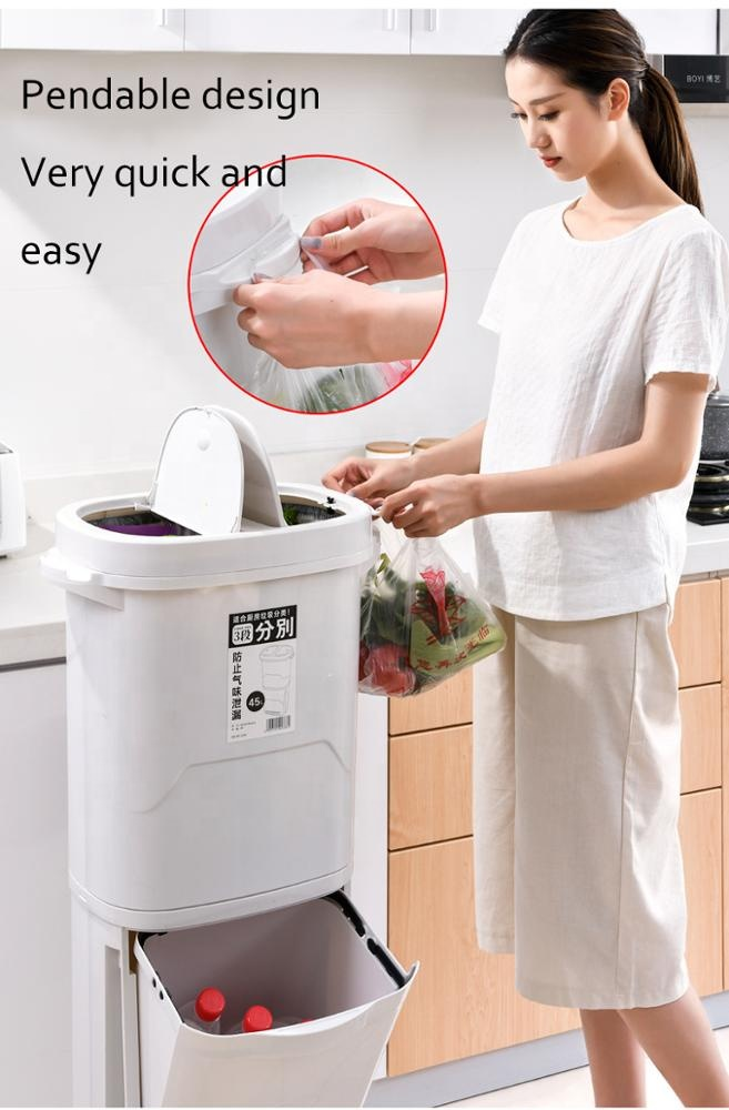 The household 2020 new manufacturer wholesale cheap plastic kitchen large garbage cans With two LIDS