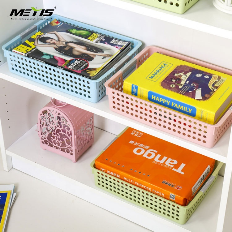 Promotion rectangular kitchen cabinet plastic basket tray storage